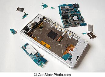 Isolated broken smartphone