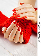 manicure with a red knitted scarf - red manicure with a red...
