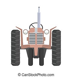 Classic Agricultural tractor icon and front view with flat color