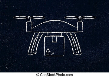 commercial drone delivery of online order parcel - drone...