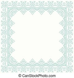 Floral Vector Fine Frame - Classic vector light blue square...