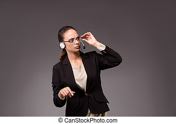 Young woman businesswoman pressing virtual buttons