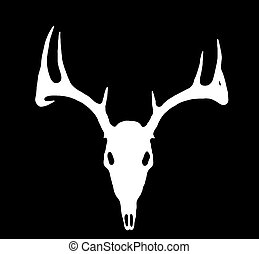 European Deer Silhouette White on Black - A European Deer...