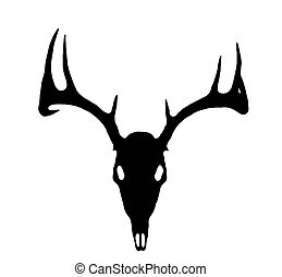 European Deer Silhouette Black on White - A European Deer...