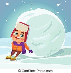 Little boy character make snowman. Vector flat cartoon...