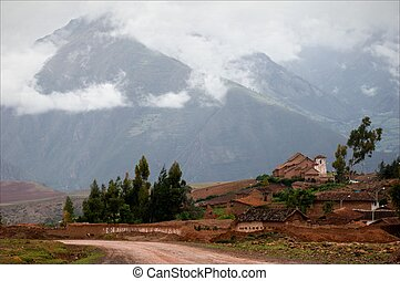 Small village in the Andes Small structures against the...