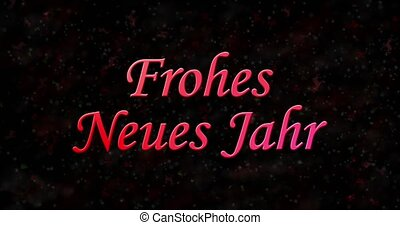 "Happy New Year text in German ""Frohes neues Jahr"" formed from dust and turns to dust horizontally on black animated background"