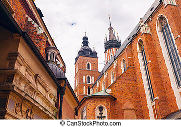 Church of St. Mary in the main Market Square. Krakow. -...