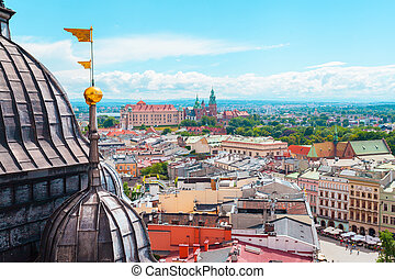 View of Wawel Castle from Church St. Mary in the main Market...