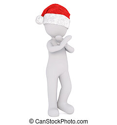 3d toon in Santa hat with crossed arms