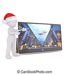 3d toon in Santa hat with wide screen television - 3d toon...