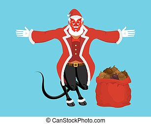 Krampus Satan Santa. Claus red demon with horns. Christmas...
