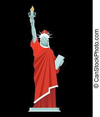 Santa Statue of Liberty. Monument in suit of Claus....