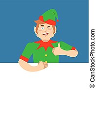 Santa Elf and Blank Space. Place for text. Xmas template design. Claus helper. christmas banner. New year advertisement