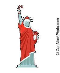 Santa Statue of Liberty. Candy cane and gift box. Monument...