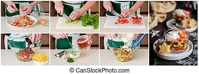 A Step by Step Collage of Making Prawn Salad