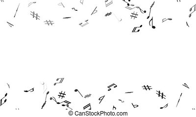 Brass Musical Notes On White Background - Loop able 3DCG...