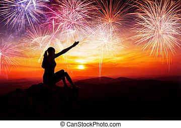 Sentado, fuegos artificiales, mujer, silueta, Mirar