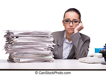 Angry woman with piles of paper on white
