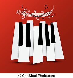 Music Symbol. Vector Piano Keys with Staff and Notes....