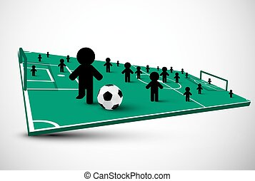 Abstract 3D Football Field. Team Sport with Players. Vector Soccer Symbol.