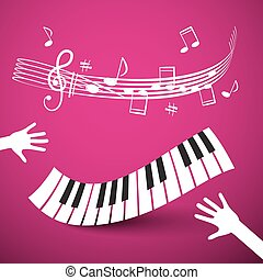 Keyboard, Hands and Staff. Vector Abstract Pink Music Background.