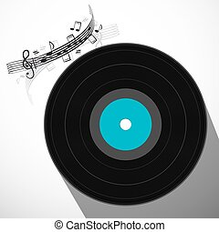 LP Vinyl Record Flat Design Long Shadow Symbol with Staff...