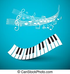 Piano Keyboard. Abstract Keys Wave with Notes and Staff on Blue Background. Recording Studio Vector Logo.