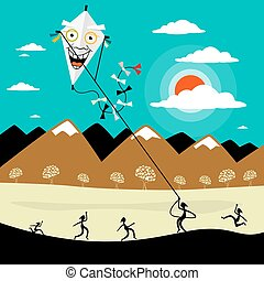 Fly a Kite. Vector Cartoon with People on Meadow. Mountains...