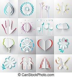 Paper Cut Icons - Symbols. - Paper Cut Vector Icons -...
