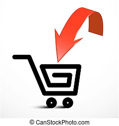 Red Arrow with Shopping Cart Icon. Vector Insert Product...