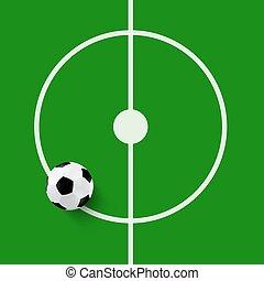 Football Ball on Green Grass Center of the Field