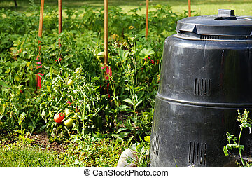 Compost bin and vegetable garden - Compost bin made of...