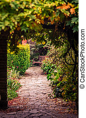 Pathway in a park in autumn - Stony pathway in a Rookery...