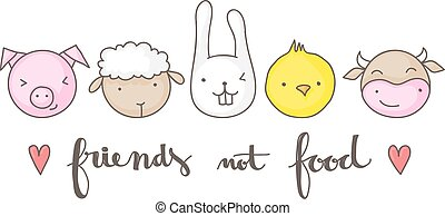 Friends not food cute vegan design. - Friends not food,...