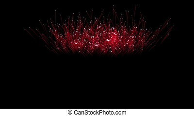 Spectacular Fireworks show, red linear fireworks, multiple...