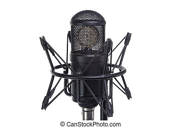 Musical microphone - isolated object on white background