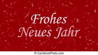 "Happy New Year text in German ""Frohes neues Jahr"" formed from dust and turns to dust horizontally on red animated background"