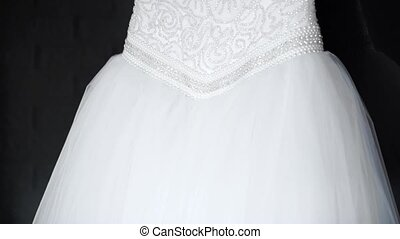 Luxurious wedding dress with a fluffy skirt and corset...