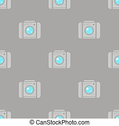 Digital Camera Seamless Pattern on Grey Background