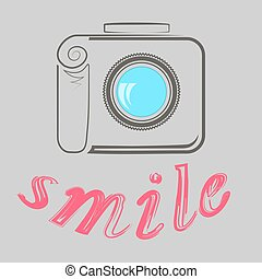 Digital Camera Poster - Digital Camera and Text Smile....