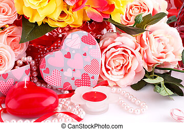 Valentine's day - Colorful roses, candles, beads and gift...