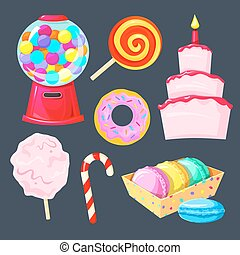 Set of different sweets, vector illustration