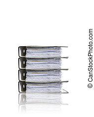 Heap of folders on white