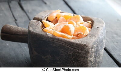 Fresh juicy tangerines slices - Mandarin citrus fruit...