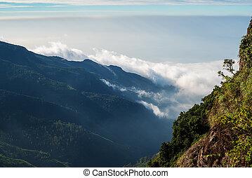 Sri Lanka: Horton Plains National Park, World's End in the...