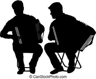 Silhouette of two musicians bayan on white background,...