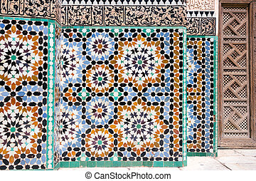 Mosaic detail architecture - MARRAKECH, MOROCCO - APR 29,...