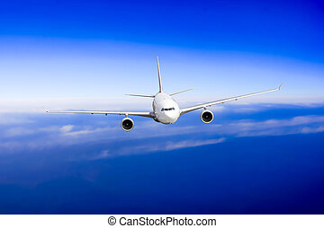 Airplane fly over clouds. Transportation travel concept