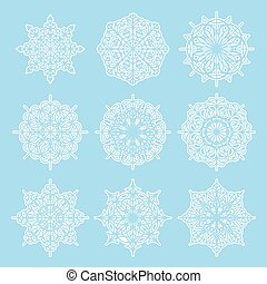 Vector set of snowflakes - Vector set of white snowflakes on...